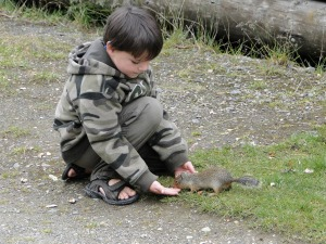 The Marshmallow Kid Feeds a Squirrel